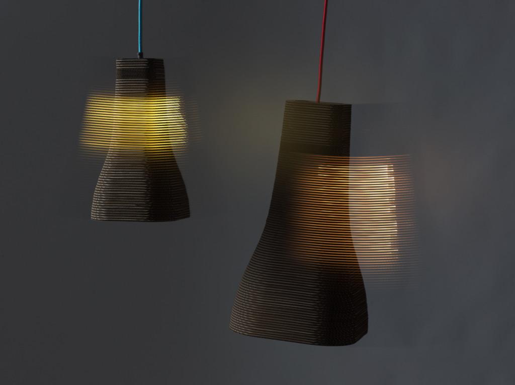 DHAB Studios cardboard waste eco-light